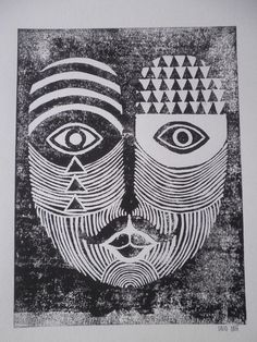 Lino Print Mo Portrait #print #pattern #lino #moustache