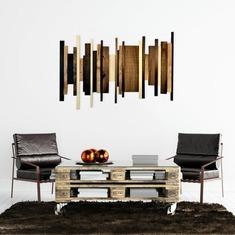 Unique Wooden Wall Art Brown ad Black image 0
