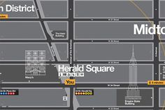 The landmarks are layered into other information on the map. Subways are indicated by tabs that resemble station signs.