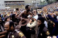Pele is swarmed by fans after the Cosmos 1977 Soccer Bowl victory over the Seattle Sounders in Portland. #pele