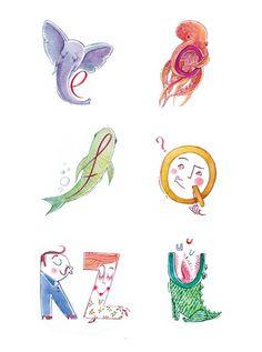 Zaczarowana Walizka / Magic Suitcase Illustration #character #creature #lettering #couple #question #fish #monster #octopus #elephant #flirt #letter #alphabet #education #kids #children #animal #watercolor #typography
