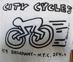 NOS-80s-Vintage-1985-KEITH-HARING-City-Cycles-NEW-YORK-T-Shirt-Large #bikes
