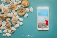 Summer concept with smartphone and shells Free Psd. See more inspiration related to Mockup, Summer, Beach, Sea, Sun, Holiday, Smartphone, Mock up, Decorative, Vacation, Summer beach, Marine, Up, Season, Concept, Shells, Composition, Mock, Summertime and Seasonal on Freepik.