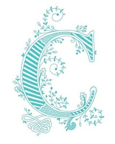Hand drawn monogrammed print 8x10 the Letter C in by jenskelley #font #letters #teal #letter #illustration #drawn #type #hand #typography