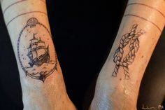 #nautical #ship #rope #tattoo black and gray ¿Ake