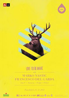 Colours Christmas edition. LOVE TO BE AWAKE. #antlers #deer #lines #design #yellow #poster #music #electronic