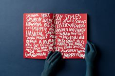 SerialThriller™ — hoploid: Komma #lettering #red #print #spread #drawn #hand #typography