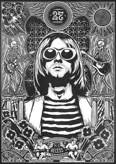 https://www.behance.net/gallery/The 27 Club No Recess/15930737Tomall x Pedro Oyarbide #illustration #blackandwhite #kurtcobain