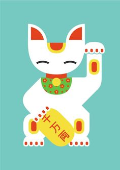 Maneki Nekos & Geishas on Behance #flat #maneki #japanese #cat #geometric #illustration #neko #lucky #japan