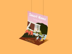 Poster, 60s family illustration / For Smart Home, church design | By Brittany Byrne | retro, mid-century