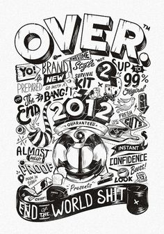 Type OVER 2012 #inspiration #vector #white #black #illustration #vintage #and #typography