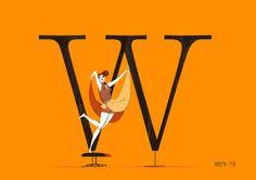 Chicks & Types by Simone Massoni #illustration #woman #lady #typography
