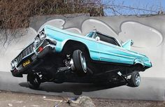 Retro car in realistic graffiti