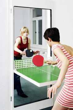 Don't have room for a table tennis setup? No worries, try the Ping Pong door! Transforms any doorway into an ad hoc games room! #design #pro