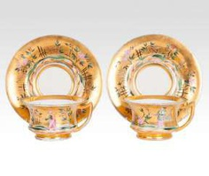 Pair of rare Russian cups with Chinoiserie decor #porcelain