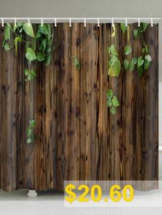 Creeper #On #Wood #Wall #Print #Waterproof #Bath #Shower #Curtain #- #BROWN