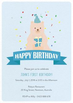 Bear Kids Bday - Birthday Invitations #paperlust #birthday #invitation #birthdaycards #birthdayinvitation #design #bear #kid #digitalcards