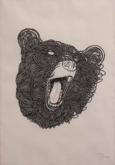 this isn't happiness™ (Stencils, Max Gaertner), Peteski #teeth #roar #string #design #stencil #illustration #painting #art #bear #animal