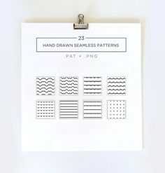 Pack of 23 Free hand drawn authentically rough seamless patterns in black and white (white background + black foreground).
