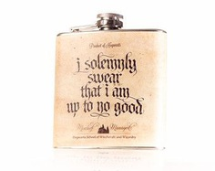 Marauder's Map - I solemnly swear that I am up to no good- Mischief Managed, inspired by Harry Potter - 6oz or 8oz Stainless Steel Hip Flask