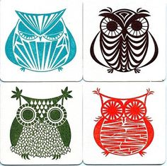 owl illustrations #owl #icon #design #retro #illustration #coaster