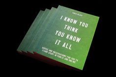 #typography #bookcover #iknowyouthinkyouknowitall #green