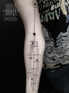 tattoo, linear, graphic, black, dot
