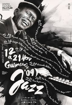 Guimarães JAZZ 2009 on the Behance Network #calligraphy #festival #jazz #print #design #graphic #celebration #paint #handmade #poster #music #typography