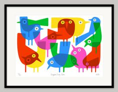 Brighton Early Birds by Lo Cole Limited edition archival pigment ink print #birds #modern