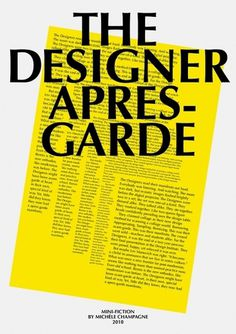 The-Designer-Apres-Garde-Poster-2.jpg 600×849 pixels #story #yellow #short