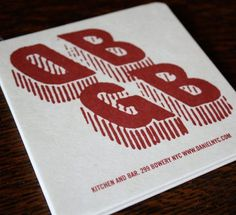 Design Work Life » cataloging inspiration daily #restaurant #identity #dbgb #coaster #typography