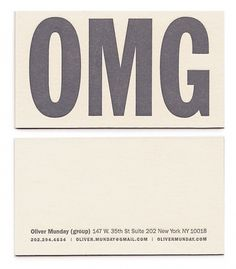 Misc. : OMG #oliver #business #card #design #omg #munday #typography