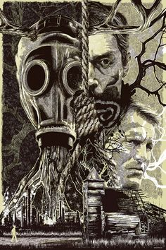 pulp flesh — folkhorror: True Detective poster art by Anthony Petri #detective #horror #illustration #etching #poster #hanging #crime