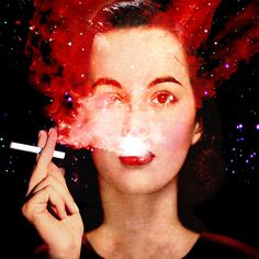 High. #collage #illustration #retro #red #vintage #surreal #woman