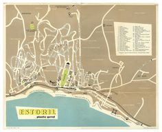 Estoril map, 1956. Designer unknow. #1956 #map #illustration #estoril #navigation
