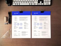 Free Blue Resume Template in PSD file Format