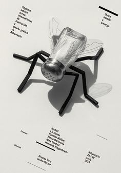 Carteles : Isidro Ferrer #graphic design #design #art #black and white #surreal #insect #shadow #fly #salt