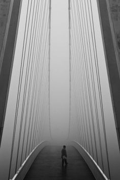 Span. - Nick Wooster #white #lines #black #geometric #photography #and #man #bridge