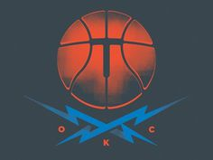 Dribbble - Ball and Crossbolts, shirt design by Blake N. Behrens #okc #city #shirt #illustration #thunder #logo #oklahoma #basketball