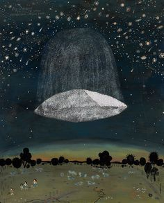 """Bad Luck House"" & ""Big Dreams"" by Esther Watson #sky #illustration #stars #planets #ufo"