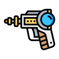 See more icon inspiration related to gun, space, space gun, Science fiction, miscellaneous, arms, arm, pointing, weapons and left on Flaticon.