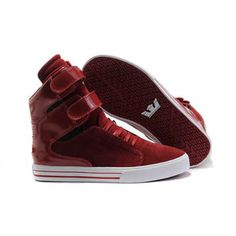 Women Gym Red High Top Supra Tk Society Suede Leather Skate Shoe #shoes