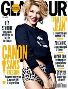 French actress  Lea Seydoux photographed by Jason Kim and styled by Sebastien Cambos for the June 2013 edition of Glamour France.