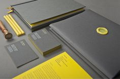 jon cleaveself promotional materialwww.joncleave.com #stamp #business #self #portfolio #yellow #book #envelope #promotion #cards #grey