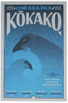 Kokako Come Back – Walter Hansen #zealand #design #screenprint #bird #poster #new