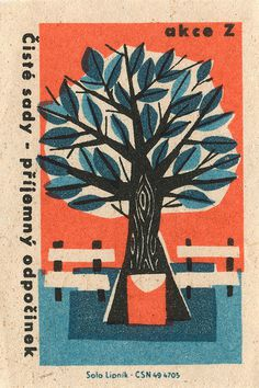 czechoslovakian matchbox label | Flickr - Photo Sharing! #matchbox #illustration #tree #label