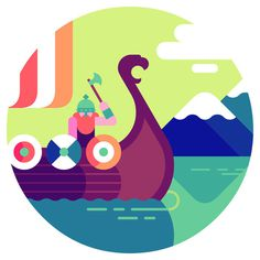 We come from the land of the ice and snow&An icon set for Thomas Cook Magazine, illustrating their top 5 Viking themed attractions. Fun stuf #illustration #character #geometric