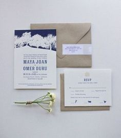 Maya + Omer's Malibu sage and navy wedding invitation / Eva Moon Press #invitation dark blue rsvp