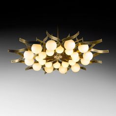 Bronze and frosted glass chandelier for Hotel Parco Dei Principi by Gio Ponti, 1964