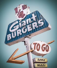 All sizes | Giant Burgers | Flickr - Photo Sharing! #giant #sign #burgers #arrow #signage #neon